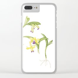 3 Stem flowering yellow and purple cattleya orchid Clear iPhone Case