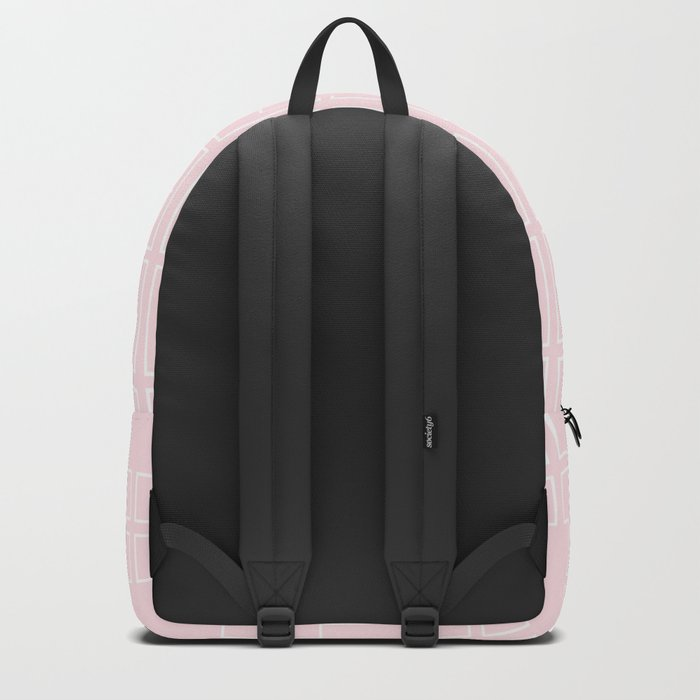 Simply Mid-Century White on Flamingo Pink Backpack