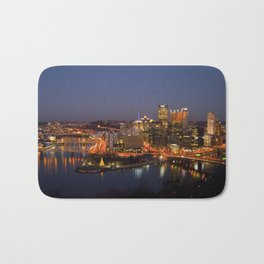Pittsburgh, Pennsylvania Downtown Night Time River with Bridges Bath Mat