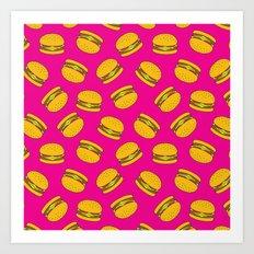 Pink Burger Pattern Art Print