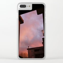 Pink Sunset - Spot the Face Clear iPhone Case