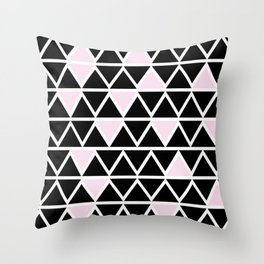 Abstract geometric triangle pattern- pink-black Throw Pillow