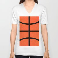 basketball V-neck T-shirts featuring Basketball by Rorzzer