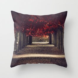 Red colors of autumn, surreal photo, red trees, alley in a park Throw Pillow