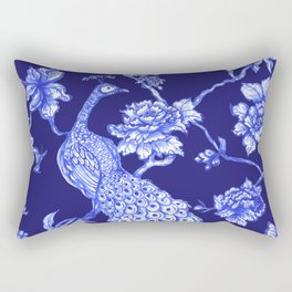 Chinoiserie Peacock Navy Rectangular Pillow