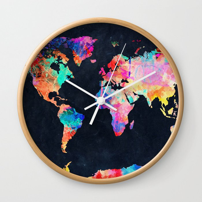 World Map Wall Clock By Bekimart Society6