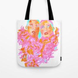 Pink Ladies blue hair pink boa gemini twins Tote Bag