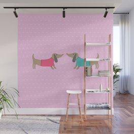 Cute dogs in love with dots in pink background Wall Mural