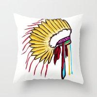 headdress Throw Pillows featuring Headdress by Relic X