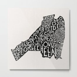 Monmouth County, New Jersey Map Metal Print