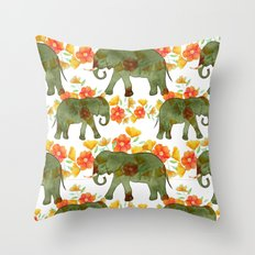 Wading Elephants Throw Pillow