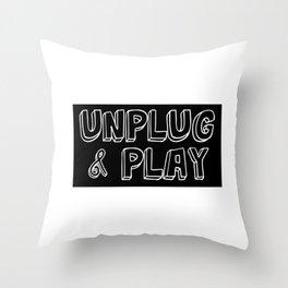 Funny Sarcastic Novelty Unplug Tshirt Design Unplug and play Throw Pillow