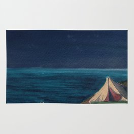 Seaside with seagulls, fire and tent. Rug