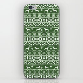 Vizsla fair isle green and white christmas holidays dog breed pet art dog pattern iPhone Skin