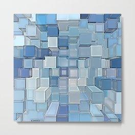 Blue Cubes Metal Print