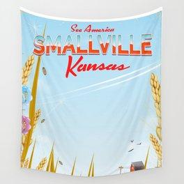 Smallville Kansas retro Travel poster Wall Tapestry
