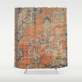 Vintage Woven Navy and Orange Shower Curtain