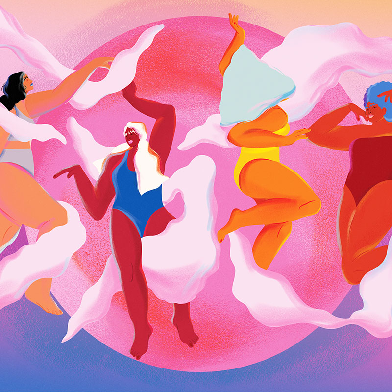 illustration of women floating in pink clouds