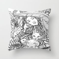 Tiny Claws - Tropical Cats - Black and White - Illustration Throw Pillow