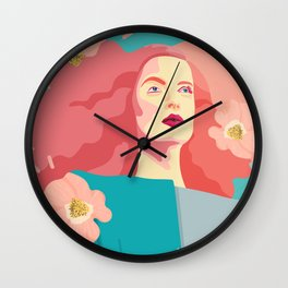 Spring model with flower motives and bold color with marble effect background Wall Clock