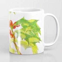 Watercolor Botanical Illustration Of Christmas Holly Coffee Mug
