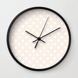 Small Polka Dots - White on Linen Wall Clock