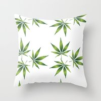 marijuana Throw Pillows featuring Marijuana Leaves  by Limitless Design