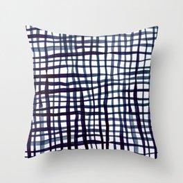 Watercolor doodle gingham - indigo Throw Pillow