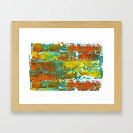 Palette Knife Daubs Orange & Blue Framed Art Print