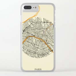 Paris Map Moon Clear iPhone Case