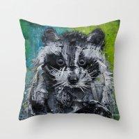 street art Throw Pillows featuring Street art by Sébastien BOUVIER