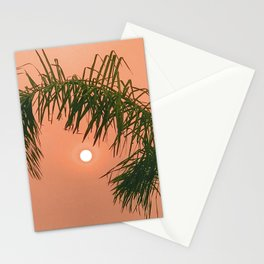 Tangerine Sunset With Palm Tree Leaves Stationery Cards