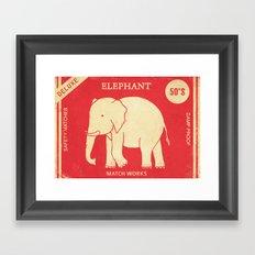 Elephant Safety Matches Framed Art Print