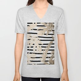 Simply Tropical White Gold Sands Palm Leaves on Stripes Unisex V-Neck