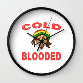"A Nice Icy Tee For Cold Persons Saying ""Cold Blooded"" T-shirt Design Reggae Mexican Tacos REd Wall Clock"