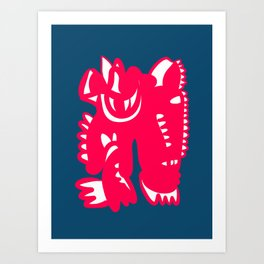 African Pink Abstract Creature Negative Space in Blue Night  Art Print
