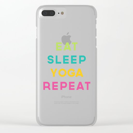Eat Sleep Yoga Repeat Quote Clear iPhone Case