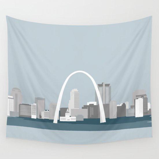 Modern Minimal St Louis Missouri City Skyline Wall Tapestry By Randgprintco Society6