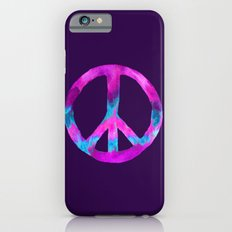 Purple Turquoise Watercolor Tie Dye Peace Sign on Purple Slim Case iPhone 6s