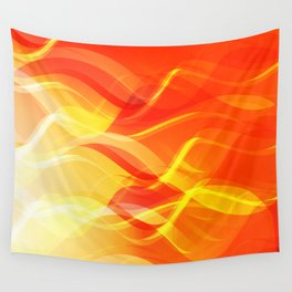 Theme of fire for the banner. Bright red and orange glare on a gentle background for a fabric or pos Wall Tapestry