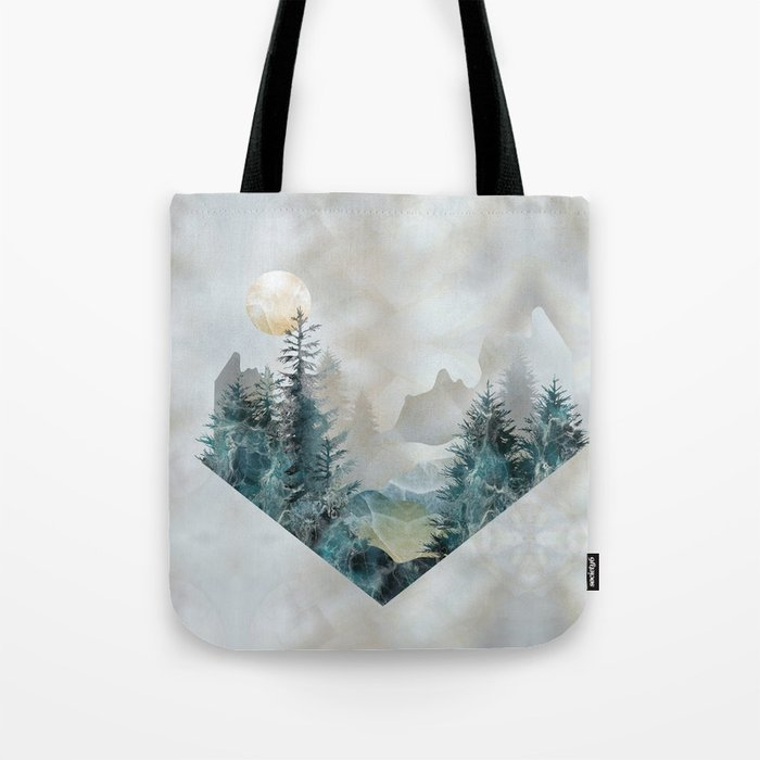 Moon Landscape in Mineral Texture on Mother of pearl Tote Bag