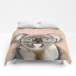 Funny koala with glasses Comforters