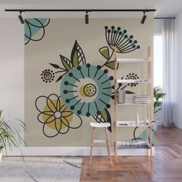 Mid Century Modern Flowers Wall Mural