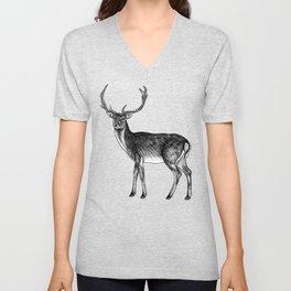 Fallow deer stag - ink illustration Unisex V-Neck