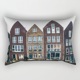 Iconic canal houses near Spaarne river in Haarlem in winter | Haarlem historical city, the Netherlands | Urban travel photography Art Print Rectangular Pillow