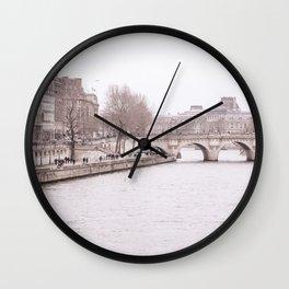 Paris Bridges in Winter Wall Clock