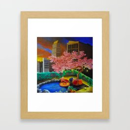 A Most Unlikely Garden Amongst Concrete Framed Art Print
