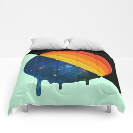 049 Cosmic retro ice cream roll melting Comforters