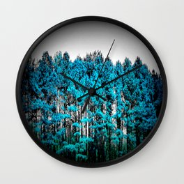 Turquoise Trees Gray Sky Wall Clock