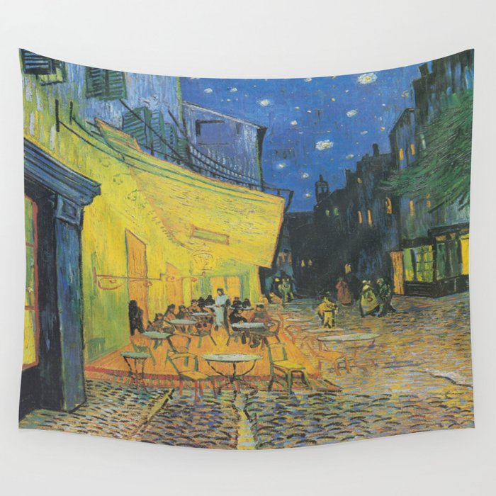 Vincent can Gogh's Cafe Terrace at Night Wall Tapestry